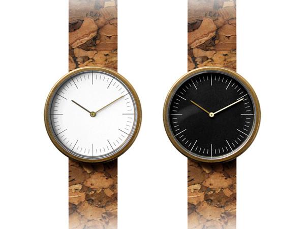 コルクレザーの腕時計